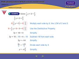 pre algebra multi step equations with fractions and decimals solve y 3