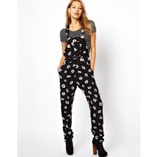 overall jumpsuit motel eddie overall jumpsuit in print polyvore