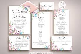 wedding invitation suite watercolor floral wedding invitation suite printable amistyle