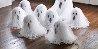 tissue paper ghosts halloween craft ideas