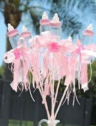 baby bottle centerpieces pink baby bottle centerpiece picks girl baby shower centerpiece