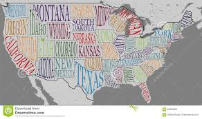 Map Of Usa With State Names by Silhouette Of The Map Of Usa With Hand Written Names Of States