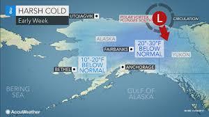 Gulf Of Alaska Map Siberian Air Polar Vortex To Blast Alaska With Lowest