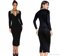 2017 black gold sequins mock neck midi dress 2017 autumn long