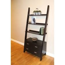 Bookshelf Drawers Cappuccino 69 Inch Ladder Bookcase With Storage Drawers Free