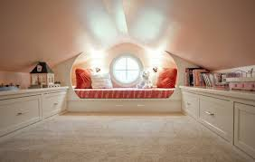 gorgeous attic room interior design furnished near books on clear