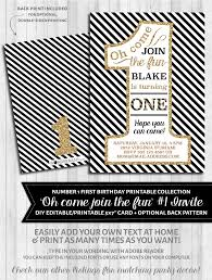 first birthday party invitations 1 black and gold glitter