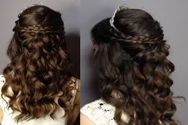 prom sweet sixteen hair tutorial half up half down curly updo