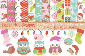 owl christmas wrapping paper christmas owl clipart and digital paper set by paperhutdesigns