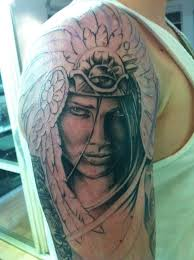 cherokee indian warrior tattoo on shoulder in 2017 real photo