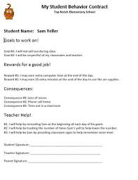 behaviour report template student behavior contracts exles and templates study