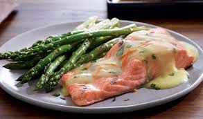 ginger salmon and asparagus with orange ginger and chive sauce u2013 recipe
