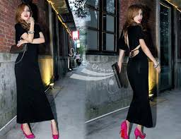 turmec black long sleeve cotton maxi dress