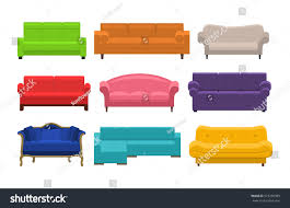 White House Furniture Collection Set Colorful Sofa Icon Collection Furniture Stock Vector 573296389
