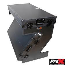 prox portable z style dj table flight case with handles u0026 wheels