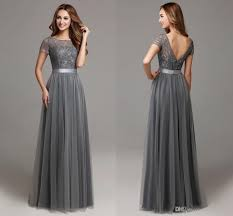 Light Gray Bridesmaid Dress Winterid Dresses Sleeves Grey Gowns Gray Cheap In Lace For Women