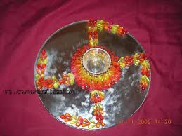 Plate Decoration For Engagement Anu U0027s Art And Crafts Engagement Thali Decoration Crystal Plate
