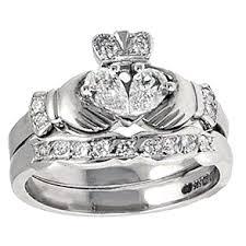 claddagh wedding ring set 14k white gold claddagh diamond engagement ring wedding ring set