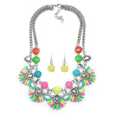 flower necklace earrings images Wholesale double layer multi color gem flower statement earrings jpg