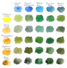 3 ways of painting shades of green watercolor color charts