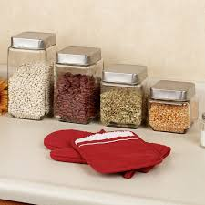 kitchen canister sets stainless steel kitchen accessories decorating design square clear glass