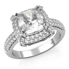 sterling engagement rings images Sterling silver 925 cubic zirconia cz 3 ct cushion jpg