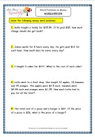 grade 3 maths worksheets 10 5 word problems on money lets