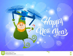 green elf flying on drone present delivery happy new year merry