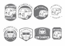 volkswagen logo vector vw camper badge set download free vector art stock graphics