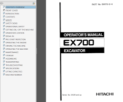 hitachi ex700 excavator service u0026 parts u0026 operator u0027s manuals pdf