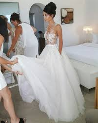 Lace Wedding Dresses A Line Floor Length Lace Wedding Dress Illusion Neckline Wedding Dress