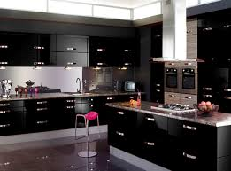 high gloss black kitchen cabinets kitchen