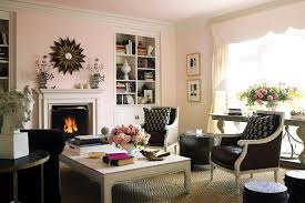 soft pink as contemporary paint color for living room with dark