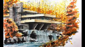 fallingwater house sketch tutorial youtube
