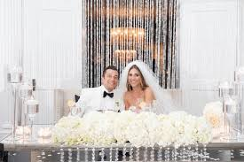 bride and groom sweetheart table wedding wednesday shimmer shine sparkle beautiful blooms