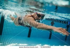 Inside Swimming Pool Underwater Shot Fit Swimmer Training Pool Stock Photo 498619807