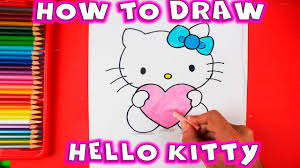 draw kitty love heart easy drawing tutorial