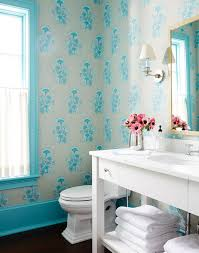 Katie Ridder Gray And Turquoise Blue Powder Room With Katie Ridder Seaweed Blue