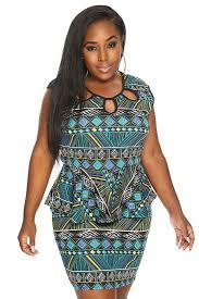womens clothing dresses jade tribal print peplum plus size