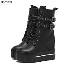 s boots wedge womens high heel boots motorcycle boots black platform