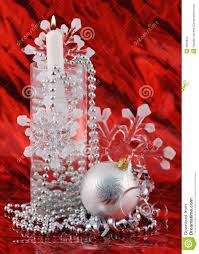 silver christmas decoration on red background stock images image
