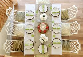 table setting runner and placemats looking corelle dinner plates in dining room transitional with apple