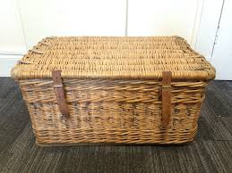 antique vintage wicker hamper coffee table storage basket trunk