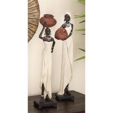 Home Sculptures by Decorative Traditional African Lady Sculptures In Colored