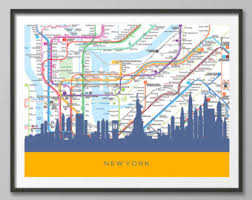 map of ny subway new york subway map etsy