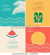 themed posters set four minimalist summer themed posters stock vector 143213095