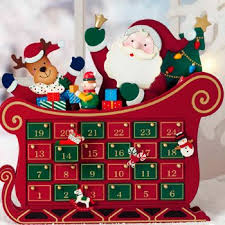 wooden santa and sleigh advent calendar with 24 assorted wooden