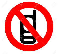 no cell phone icon sign isolated over a white background stock