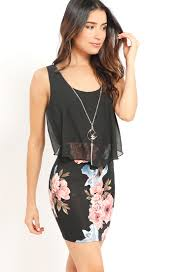 dress with necklace images Double layer floral bodycon dress with necklace shop old floral aspx