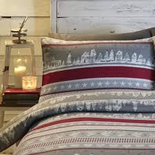 nordic christmas brushed cotton reversible grey duvet cover set